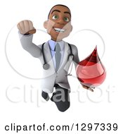 Clipart Of A 3d Young Black Male Phlebotomist Doctor Flying With A Blood Drop Royalty Free Illustration