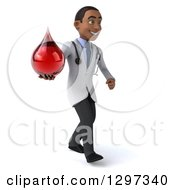 Clipart Of A 3d Young Black Male Phlebotomist Doctor Walking To The Right And Holding A Blood Drop Royalty Free Illustration