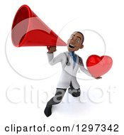 Clipart Of A 3d Young Black Male Doctor Holding A Heart And Announcing Upwards With A Megaphone Royalty Free Illustration