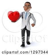 Clipart Of A 3d Young Black Male Doctor Walking With A Heart Royalty Free Illustration