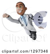Clipart Of A 3d Young Black Male Doctor Flying With A Euro Symbol Royalty Free Illustration