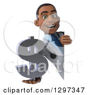 Clipart Of A 3d Young Black Male Doctor Holding A Dollar Symbol Around A Sign Royalty Free Illustration