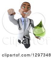 Clipart Of A 3d Young Black Male Doctor Flying And Holding A Green Medicine Drop Royalty Free Illustration