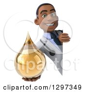 Clipart Of A 3d Young Black Male Doctor Holding A Medicine Drop Around A Sign Royalty Free Illustration