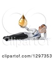 Clipart Of A 3d Young Black Male Doctor Resting On His Side And Holding A Medicine Drop Royalty Free Illustration