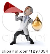 Clipart Of A 3d Young Black Male Doctor Holding A Medicine Drop And Announcing With A Megaphone Royalty Free Illustration