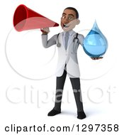 Clipart Of A 3d Young Black Male Doctor Holding A Water Drop And Announcing With A Megaphone Royalty Free Illustration