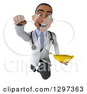 Clipart Of A 3d Young Black Male Doctor Flying With A Banana Royalty Free Illustration