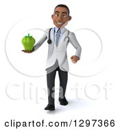Clipart Of A 3d Young Black Male Doctor Walking And Holding A Green Bell Pepper Royalty Free Illustration