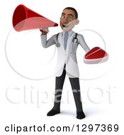 Clipart Of A 3d Young Black Male Doctor Holding A Beef Steak And Announcing With A Megaphone Royalty Free Illustration