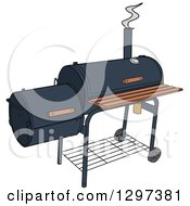 Clipart Of A BBQ Offset Smoker Royalty Free Vector Illustration