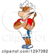 Clipart Of A Cartoon Grinning Muscular Bbq Chef Cow With Folded Arms Smoking A Cigar Royalty Free Vector Illustration