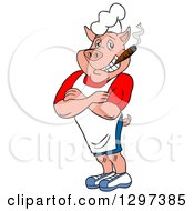 Cartoon Grinning Muscular Bbq Chef Pig With Folded Arms Smoking A Cigar