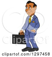Cartoon Frumpy Black Businessman Facing Left And Holding A Briefcase One Hand In A Pocket