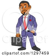 Clipart Of A Cartoon Black Businessman With A Goatee Holding A Briefcase One Hand In A Pocket Royalty Free Vector Illustration