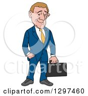 Cartoon White Debonnaire Businessman Holding A Briefcase One Hand In A Pocket