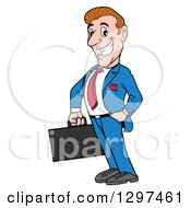Cartoon Gung Ho White Businessman Facing Left And Holding A Briefcase One Hand In A Pocket