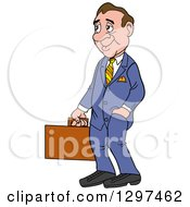 Cartoon Frumpy White Businessman Facing Left And Holding A Briefcase One Hand In A Pocket