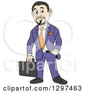 Clipart Of A Cartoon White Businessman With A Goatee Holding A Briefcase One Hand In A Pocket Royalty Free Vector Illustration