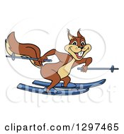 Cartoon Excited Brown Squirrel Skiing