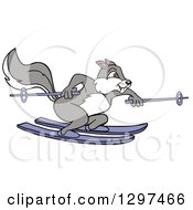 Clipart Of A Cartoon Gray Squirrel Skiing Royalty Free Vector Illustration by LaffToon