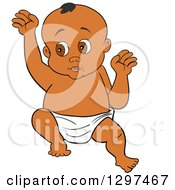 Cartoon Black Baby In A Diaper