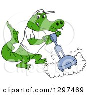 Cartoon Alligator Buffing A Floor