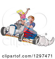 Cartoon Salivating Drooling White Man Peeling Out In A Hot Rod And Checking Out A Blond Female Passenger