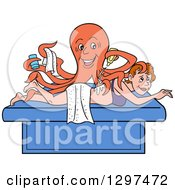 Cartoon Masseuse Octopus Massaging A White Woman At A Spa