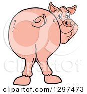 Clipart Of A Cartoon Pig Butt With Him Smiling Back Royalty Free Vector Illustration