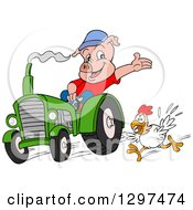 Cartoon Pig Farmer Waving And Driving A Tractor With A Chicken Running