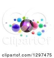 Clipart Of A 3d Floating Camera Lens With Colorful Spheres On White Royalty Free Illustration by Frank Boston