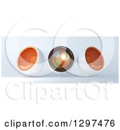 Clipart Of A 3d Camera Lens And Cocoon Chairs Royalty Free Illustration