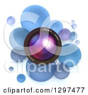 Clipart Of A 3d Camera Lens In A Circle Of Blue Bubbles Or Disks On White Royalty Free Illustration by Frank Boston