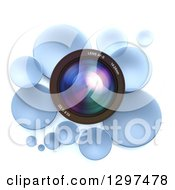 Clipart Of A 3d Camera Lens In A Circle Of Blue Bubbles Or Disks On White 2 Royalty Free Illustration by Frank Boston