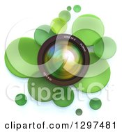 Clipart Of A 3d Camera Lens In A Circle Of Green Bubbles Or Disks On White Royalty Free Illustration by Frank Boston