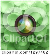 Clipart Of A 3d Camera Lens Over Green Bubbles Or Disks Royalty Free Illustration by Frank Boston