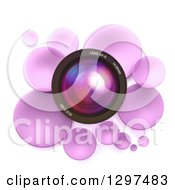 Clipart Of A 3d Camera Lens In A Circle Of Purple Bubbles Or Disks On White Royalty Free Illustration by Frank Boston