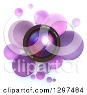 Clipart Of A 3d Camera Lens In A Circle Of Purple Bubbles Or Disks On White 2 Royalty Free Illustration by Frank Boston