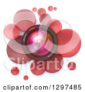 Clipart Of A 3d Camera Lens In A Circle Of Red Bubbles Or Disks On White Royalty Free Illustration by Frank Boston