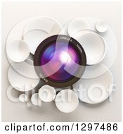 Clipart Of A 3d Camera Lens In A Circle Of White Bubbles Or Disks On Shading Royalty Free Illustration by Frank Boston