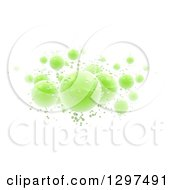 Clipart Of 3d Floating Shiny Green Spheres And Bubbles On White Royalty Free Illustration by Frank Boston