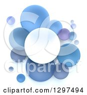 Clipart Of 3d White And Blue Circular Disks On White Royalty Free Illustration by Frank Boston