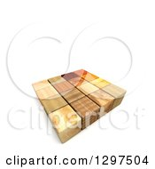 Clipart Of A 3d Group Of Different Patterned Wood Cubes On White With Text Space Royalty Free Illustration