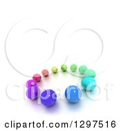 3d Circle Of Colorful Marbles Or Spheres With Text Space On White 3