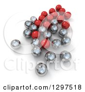 3d Group Of Silver And Chrome Marbles On White 2