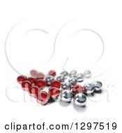 Clipart Of A 3d Group Of Silver And Chrome Marbles On White With Text Space Royalty Free Illustration