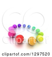 3d Circle Of Colorful Marbles Or Spheres With Text Space On White 2