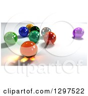 Clipart Of 3d Colorful Marbles On Shading Royalty Free Illustration