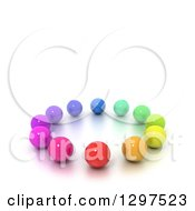 3d Circle Of Colorful Marbles Or Spheres With Text Space On White